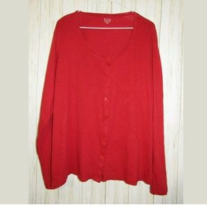 L Flax Red Cotton Button Front Top